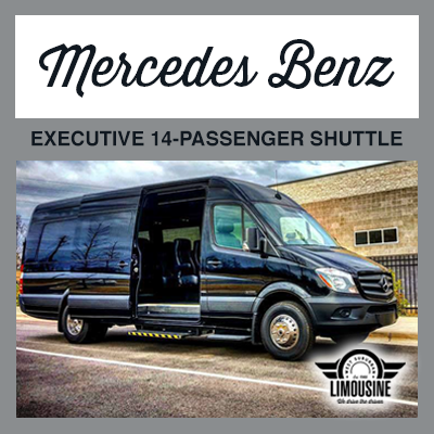 Mercedes Benz Executive Limo and Sprinter Bus holding 14 Passengers