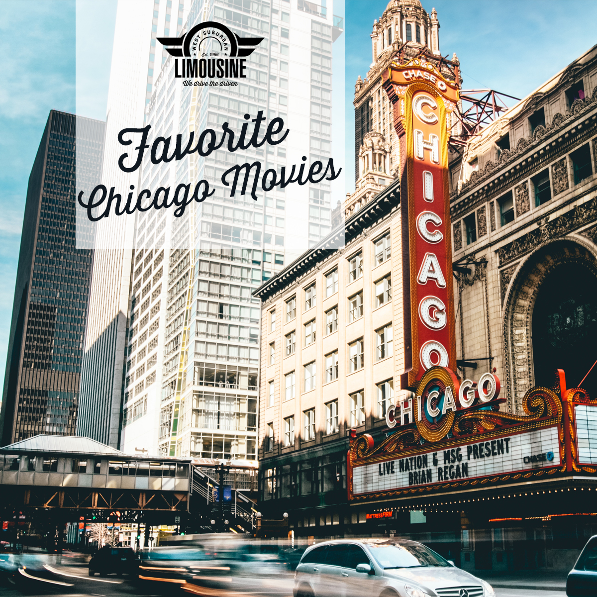 outside picture of the downtown Chicago Theatre